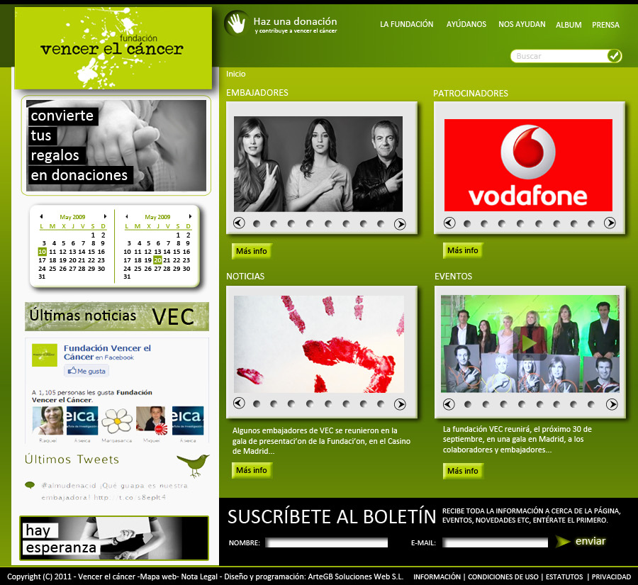 Web corporativa Vencer el Cancer